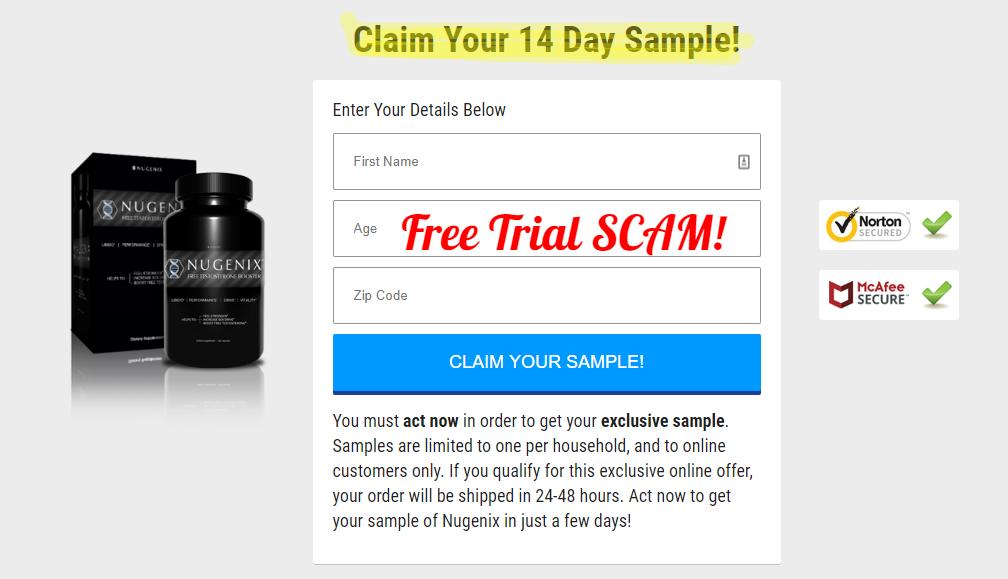 Nugenix free trial scam warning
